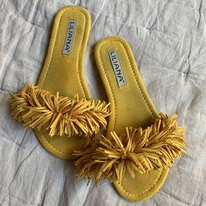 Yellow Liliana Fringe Slides